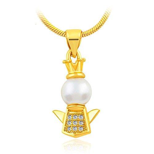 Aoligei Mode-Euro-Münze Kupfer 24K vergoldet Schmuck Perlmutt Intarsien Diamant Anhänger Krone Cherub Anhänger (Anhänger Cherub)