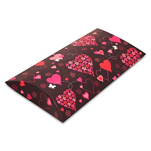 10er Pack Kissenverpackung Geschenkbox Geschenkschachtel Herzen, ca. 21,5 x 11,5 x 3 cm,...