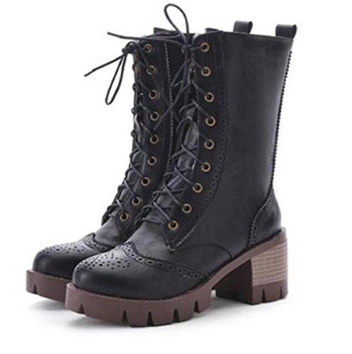 Stivali invernali pizzo anteriore di spessore - stivali con tacco corto tubo Martin black
