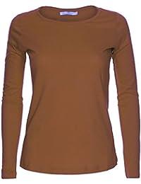bbab4a63a621 Amazon.it  Maglia lunga marrone - Maglie a manica lunga   T-shirt ...