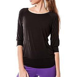 Sternitz Camisa Fitness para Mujer, Ananda, Ideal para Hacer Pilates, Yoga y Cualquier Deporte, Tela de bambú, ecológica y Suave. Cuello Redondo. Manga 3/4. (S, Negro)
