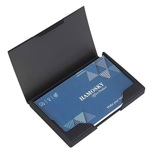 Professional Hochleistungs-Visitenkartenetui aus Metall Visitenkartenetui Visitenkartenetui Brieftasche Visitenkartenträger, 3.8x2.4x0.4in, Edelstahl & ABS mit schwarzer Titanbeschichtung, Schwarz