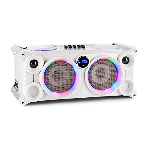 ibiza SPLBOX200 Sistema Audio Cassa Portatile Karaoke con Bluetooth (200 Watt, Porta USB/SD MP3, Equalizzatore a 5 bande, Ingresso Microfono, Telecomando, Luci LED) Bianco