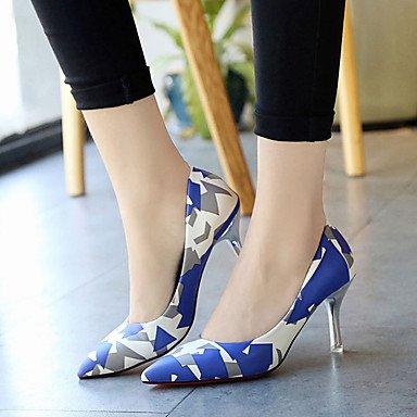 Talloni delle donne Primavera Comfort PU esterna tacco a spillo Nero Blu Viola Rosso Walking Blue
