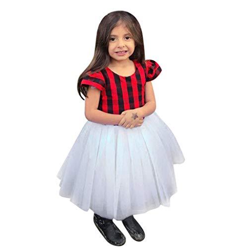 Bestoew Niñas Vestido de Malla de Costura a Cuadros Rojo Toddler Kids Baby Girls Summer Plaid Splice Tul Princesa Vestidos de Fiesta(Rojo,3-4 T)