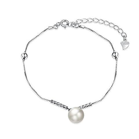 fjyouria Damen 925Sterling Silber weiß Perlen Kette Armband Ball Link Halterung Länge von 20+ 3cm Verlängerung