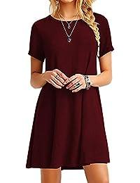 18ac61b37538 YMING Women s Long Shirt Mini Loose Summer Dress Basic Tops Casual T-Shirt  Dress 16