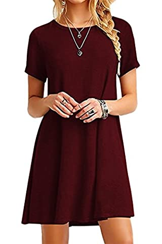 YMING Women Loose Dress Short Sleeve Round Neck Long T-Shirt