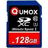 128GB QUMOX SD XC 128 GB SDXC Class 10 UHS-I Secure Digital Speicherkarte HighSpeed Write Speed 40MB/s read speed upto 80MB/s