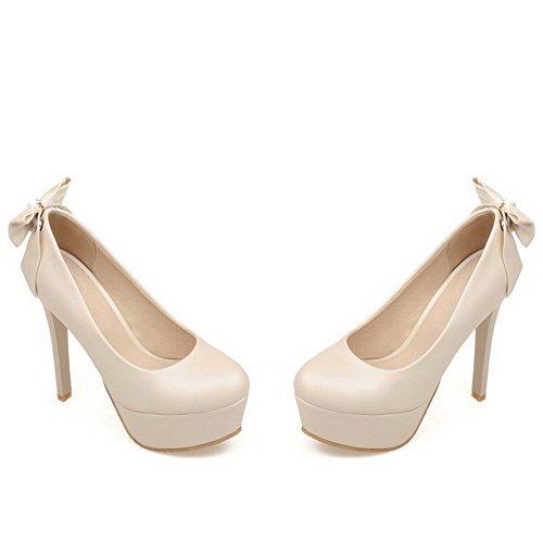 AllhqFashion Damen Ziehen Auf Rund Zehe Hoher Absatz Eingelegt Pumps Schuhe Cremefarben