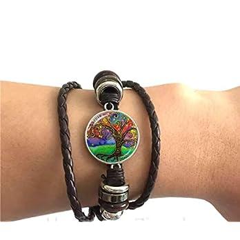 Lebensbaum Leder-Armband Glascabochon schwarz verstellbar 3-reihig handmade geflochten Baum des Lebens Schmuckphantasien