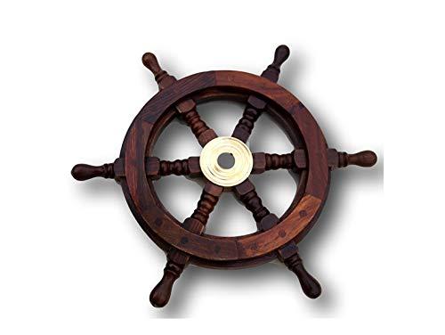 Traditionelle Schiffs 6-Speichen Rad aus Holz mit Messingmittelteil - Solid Brass-6 Zoll-haus