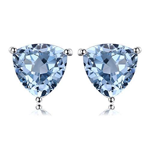 JewelryPalace Triangolo 1.9ct Naturale Cielo Blu Azzurro Topazio Birthstone Pure 925 Sterling Argento Stud Orecchini
