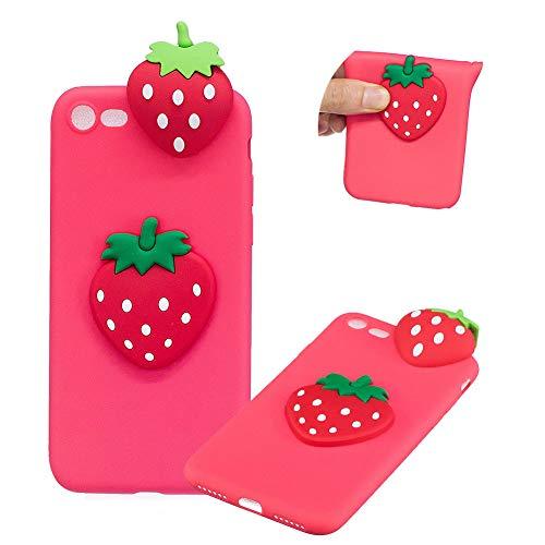 TPU Hülle für iPhone 8,Weich Silikon Hülle für iPhone 7,Moiky Komisch 3D Erdbeere Entwurf Ultra Dünnen Scratch Resistant Soft Rückseite Abdeckung Handyhülle