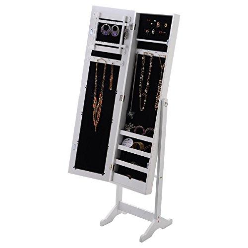 Schmuckschrank Spiegelschrank Schmuckregal Standspiegel 33 x 37 x 142cm Weiß