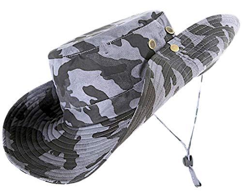Boonie Hut für Herren und Damen, aus weicher Baumwolle und Polyester, stabile Nähte, breite Krempe, Boonie Hut - Top Camo Bucket Hat in attraktiven Farben, Unisex, Gray Camo(4' Brim), Einheitsgröße - Armee Camo Fitted Hut