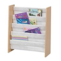 Children's Sling Bookcase with 4 Bookshelves. Great Toddler's Furniture for the Bedroom/Nursery - GREAT VALUE. Amazing Value Children's Book Shelves has 4 Book Shelfs – a great Book Sling for a Kid's Playroom encouraging Children to Read Books more.