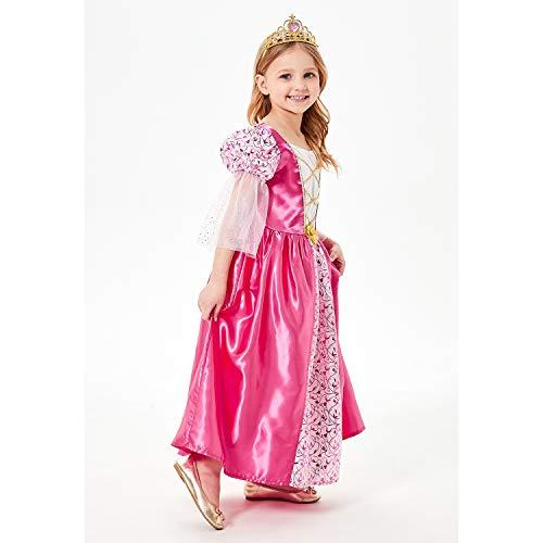 Mädchen Rosa Mittelalter Prinzessin Kleid mit Tiara 3-4Jahre (Kostüm Mädchen Prinzessin Mittelalterliche)