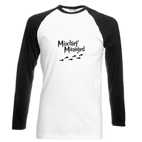 Brand88 - Mischief Managed, Langarm Baseball T-Shirt Weiss & Schwarz
