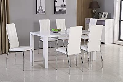 New PIVERO High Gloss White Dining Table Set and 6 Leather Chairs Seats