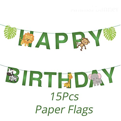 Boy Birthday Party Disposable Tableware Set Supplies Jungle Party Paper Cup Plate Wall Decoration Banner Animal Zoo Party,1Set Banner