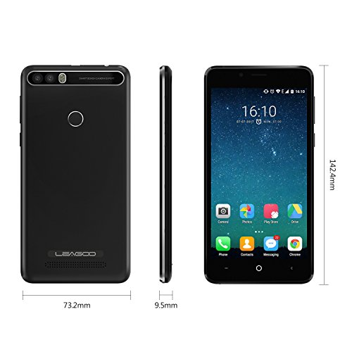 LEAGOO KIICAA POWER 3G Smartphone 5,0 Zoll IPS HD Touch-Display Android 7.0 MT6580A Quad-Core-1.3GHz, 2GB RAM 16GB ROM,Dual Heck Kameras 5MP+8MP&Front 5MP,4000mAh, Fingerabdruck Scanner, Entriegelte Handy,Dual SIM (Schwarz)(Valentinstag Geschenk)