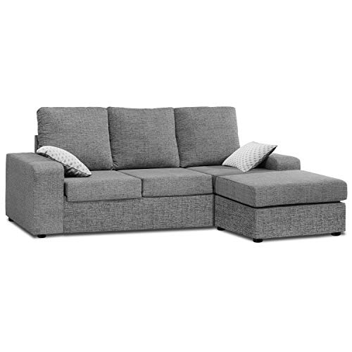 Mueble Sofa ChaiseLongue, MONTADO DE FABRICA, Tres plazas, Color Gris, cheslong Anti...
