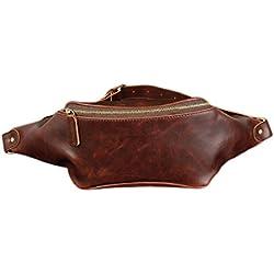 TOYIS Bolsa de cintura, bolsa de piel sintética, bolsa de dinero para viajes, senderismo, camping, montañismo, color marrón oscuro, tamaño tamaño único