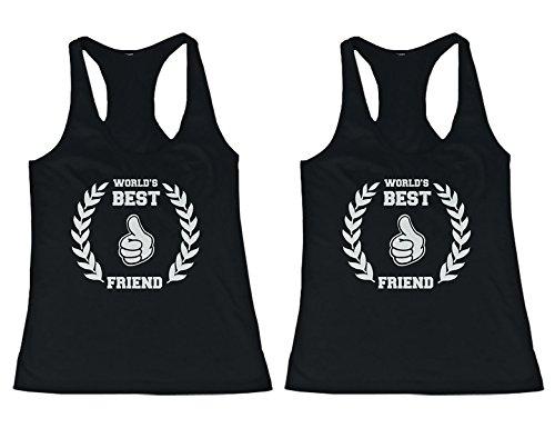 love BFF Tank Tops World 's Best Friend - Camisa a Juego Para Mejores Amigos - Negro - Izquierda-XX-Large/Derecho-XX-Large