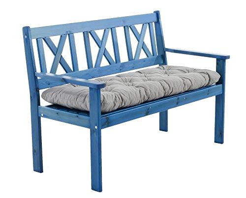 Ambientehome 90415 - Banco de madera maciza banco de jardín evje banco banco de madera de 1,2 metros de color azul nueva incl. sitzkissen