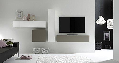 Parete attrezzata mobili salotto 4 mobili sospesi 169x327x31cm sodani cube bianco lucido e grigio opaco