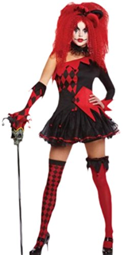 (erdbeerloft Damen Joker Kostüm, Damenkostüm, Fasching, Karneval, Halloween, 38, Rot)