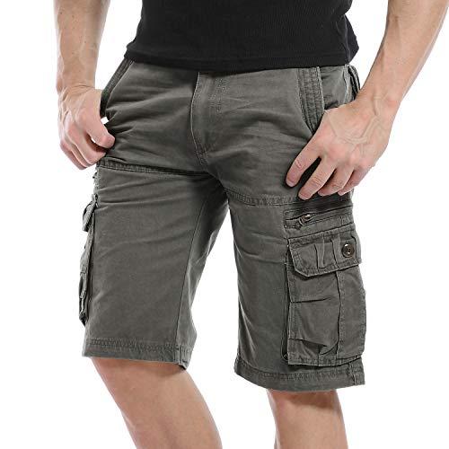Yidarton Cargo Shorts Herren Kurze Hosen Outdoor Casual Cargo Bermudas Sommer Unifarben/Camouflage (ohne Gürtel) (Style1-Deep Army Green, EU 42-44) -