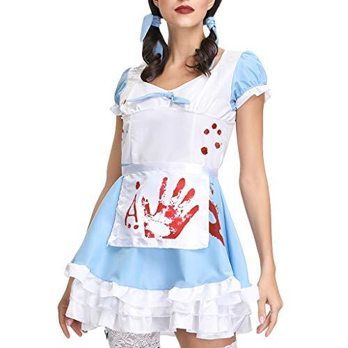 Mädchen Gangster Girl Mafia Kostüm - ToDIDAF Halloween Kostüm Damen Kurzarm Kleid mit Haarband und Schürze Kostüm Blaue Kleider Mädchen Dienstmädchen-Zombie-Anzug Festival-Kleidung Für Fasching Karneval Cosplay Maskerade Party (M)