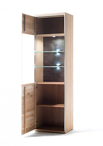 Dreams4Home Wohnkombination massiv 'Adeline II' Ast-Eiche Bianco 5-teilig, optional mit Beleuchtung, Schrank, TV-Schrank, TV Element, Wohnwand, Wohnelement, Wohnzimmer, Regalwand, Highboard, Vitrine, Beleuchtung:mit Beleuchtung - 4