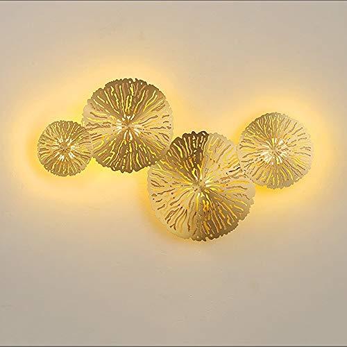 ETH LED Lotus Leaf Edelstahl Wandleuchte Gang Flur Esszimmer Wohnzimmer Schlafzimmer Studie Treppe Balkon Golden Warm Warm Light Modern Simple Qualität - Gold Leaf 12 Licht