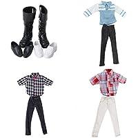 MagiDeal 3 Juegos Casuales Pantalones Camiseta Equipar Ropa Zapatos para Barbie Novio Ken Muñeca 12 Pulgadas
