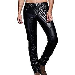 Pantalones de los pantalones vaqueros del cuero del Faux del motorista del funcionamiento del partido del ajuste delgado de los hombres