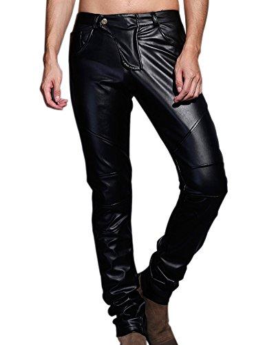 Idopy Prestazioni Biker Jeans Pelle Faux Pantaloni Heavyweight Partito degli Uomini