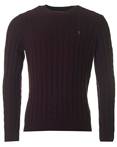 Farah Norfolk Crew Neck Cable Knit XXL BORDEAUX (Cable Knit Crew Pullover)