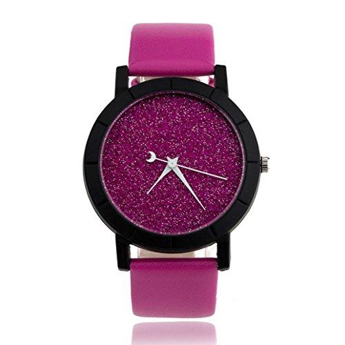 Women's Watches Damenuhren, Kingwo Armbanduhr Herrenmode-Mädchen-Minimalist-Art- und Weiseuhren für Geliebt-Leder-Bügel-Uhr (Pink)