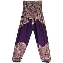 SHOBDW Pantalones Hombres Mujeres Pantalones Harem Tailandeses Boho Festival Harem Hippy Smock Cintura Alta Deporte Atlético