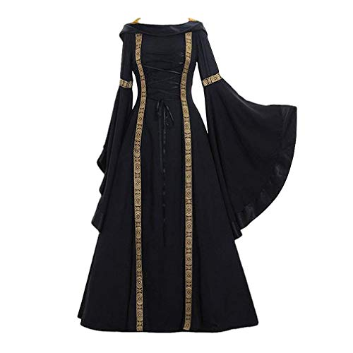Hongxin Damen Retro Mittelalterliches Kostüm Renaissance Kleid mit Kapuze Langes Kleid Langarm Maxikleid Schnüren Farbe Spleißen Bühnenkostüm Gerichts Kostüm S-5XL (Kostüme Halloween Beliebte Für Teenager-mädchen)