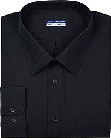 Mens Big Size Tom Hagan Long Sleeve Casual or Formal Shirt Size 3XL-4XL 5XL 6XL (4XL 20-20.5in, BLACK)