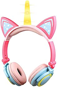 KEYMAO Unicorn Kids Headphones, Over Ear with LED Glowing Cat Ears,Safe Wired Kids Headsets 85dB Volume Limite