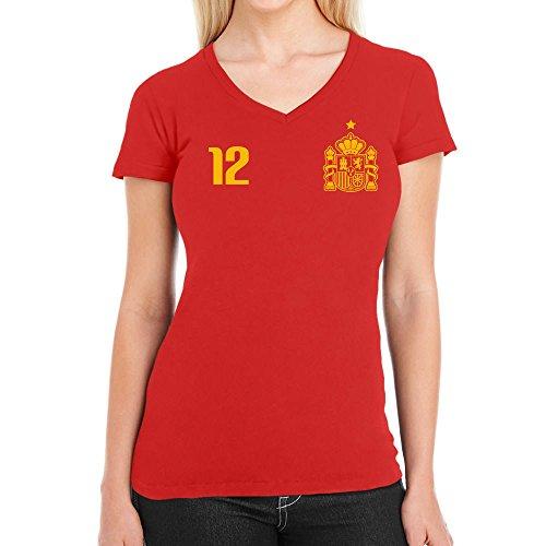 Shirtgeil maglia x fans calcio - spagna mondiali 2018 maglietta da donna con scollo a v medium rosso