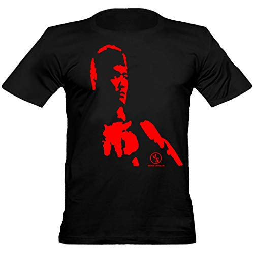 urban shaolin Men's kung Fu Martial Art Bruce Lee Silhouette inspired Fitted T shirt, Black