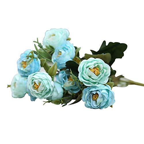 leegoal Künstliche Blumen, Vintage Gefälschte Blumen, 1 Zweig 10 Köpfe Künstliche Kamelie mit Seidenblumen, für Hochzeitsdekor/Wohnkultur/ Party-Mittelstücke Dekor/Brautstrauß (Hellblau)