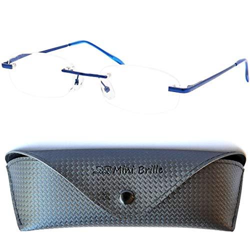Leichte Metall Lesebrille Randlos mit Ovalen Gläsern - inklusive GRATIS Etui und Brillenputztuch | Edelstahl Rahmen (Blau) mit Federscharnier | Lesehilfe für Damen und Herren | +1.5 Dioptrien
