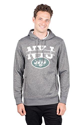Icer Marken NFL Herren Fleece Hoodie Pullover Sweatshirt Reißverschluss Tasche, grau/Navy, Herren, JHM4689F, Heather Charcoal, Medium - Ny Giants Tragen